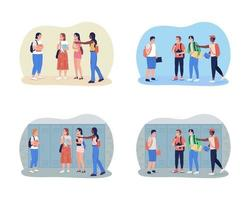 Bullying teenagers at school 2D vector isolated illustration set