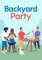 Backyard party poster flat vector template