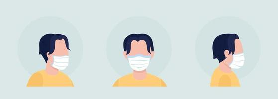Male with fabric mask semi flat color vector character avatar set