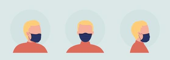 Light haired semi flat color vector character avatar with mask set