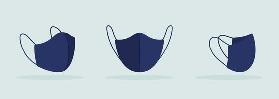 Face mask with thin ties and seam in center black mockup vector