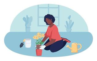 Woman gardening indoors 2D vector isolated illustration