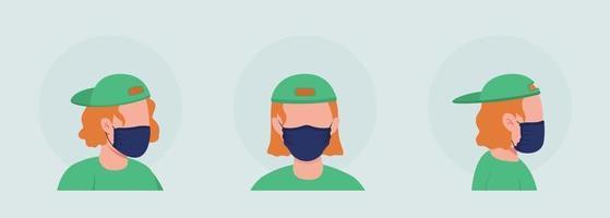 Adolescente con máscara negra conjunto de avatar de carácter vectorial de color semi plano vector