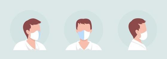 Center seam mask wearer semi flat color vector character avatar set