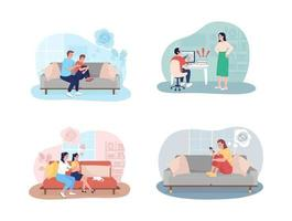 Teenager problems 2D vector isolated illustration set