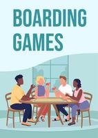 Boarding games poster flat vector template