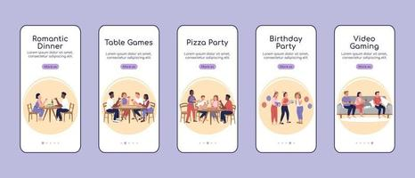 Party types onboarding mobile app screen flat vector template