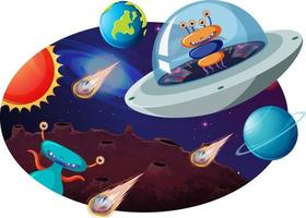 alienígena en ovni con muchos planetas y asteroides vector