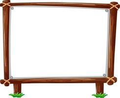 Wooden frame horizontal isolated on white background vector