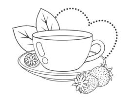 Teacup With Strawberry vector