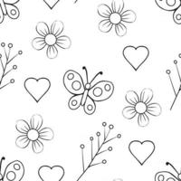 Monochrome Floral Seamless Pattern vector