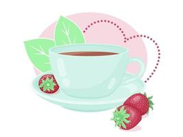 Teacup With Fresh Strawberry vector