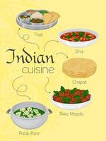 Vertical Poster With Traditional Indian Meals vector