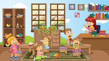 A teacher and children in kindergarten room scene vector