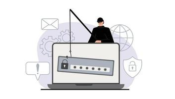 The criminal behind a laptop, computer. Hidden mining. Phishing notifications. Account hacking. A fraudster steals a bank card. Network security. Internet phishing, hacked username and password. vector