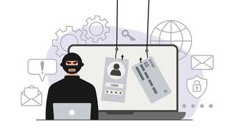 Hacker attack. Fraud with user data on social networks. Credit or debit card theft. Internet phishing, hacked username and password. Cybercrime and crime. A thief on a website online on the internet. vector