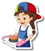Cartoon character sticker with chef girl holding baked tray vector