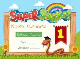 Diploma or certificate template for school kids with super snake cartoon character vector