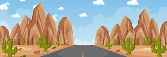 Horizontal scene with long road through desert at day time vector