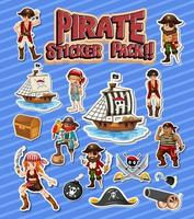 Pirate sticker pack set with cartoon character isolated vector