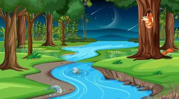 River through the forest scene at night vector