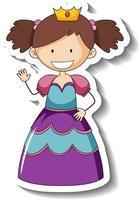 Sticker template with a little princess cartoon character isolated vector