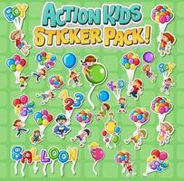 Set of stickers design with kids doing different activities vector