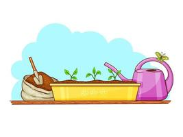 Garden Tools On White Background vector