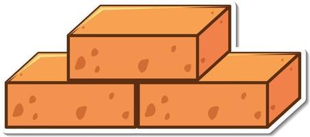 Three brick blocks sticker on white background vector