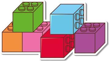 Sticker design with many lego bricks vector