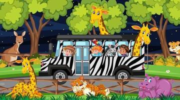 Animals in Safari scene with children in the tourist car vector