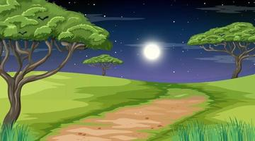 Blank nature park landscape at night scene with pathway through the meadow vector