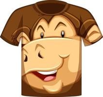 Front of t-shirt with face of monkey pattern vector
