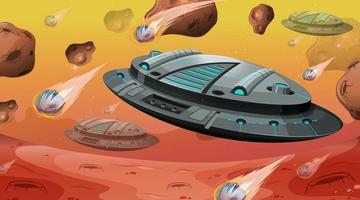 nave espacial con asteroides en la escena espacial. vector
