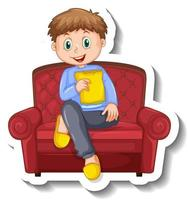 A sticker template with a boy sitting on sofa vector