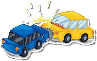 Sticker design with wrecked cars isolated vector