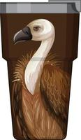 A brown thermos flask with vulture pattern vector