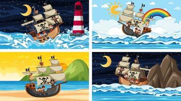 Set of different beach scenes with pirate ship and pirate cartoon character vector