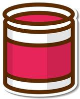 Red can cartoon sticker on white background vector