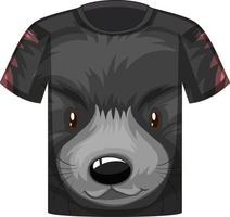 parte delantera de la camiseta con la cara del patrón de oso negro vector