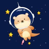 Cute otter wearing astronaut helmet. Animal cartoon character Premium Vector
