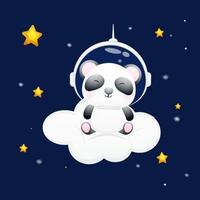 Cute baby panda sit down on the cloud and wearing astronaut helmet. Animal cartoon character Premium Vector