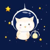Cute baby owl with chicks wearing astronaut helmet. Animal cartoon character Premium Vector