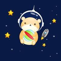 Cute hamster wearing astronaut helmet. Animal cartoon character Premium Vector