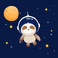 Cute baby sloth wearing astronaut helmet. Animal cartoon character Premium Vector