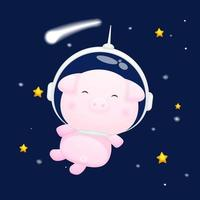 Cute piggy wearing astronaut helmet. Animal cartoon character Premium Vector