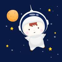 Cute baby wearing astronaut helmet. Animal cartoon character Premium Vector