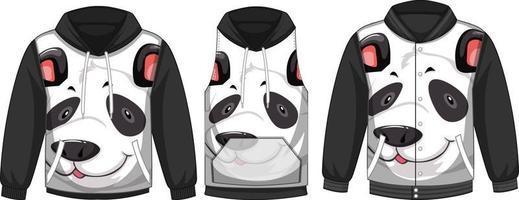 conjunto de diferentes chaquetas con plantilla de cara de panda vector