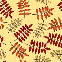 Seamless pattern with autumn rowan leaves in orange, beige, brown colors. Perfect for Wallpaper, gift paper, drawing fill, web page background, autumn greeting cards. vector