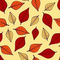 Seamless pattern with autumn leaves in orange, beige, brown colors. Perfect for wallpaper, gift paper, drawing fill, web page background, autumn greeting cards. vector